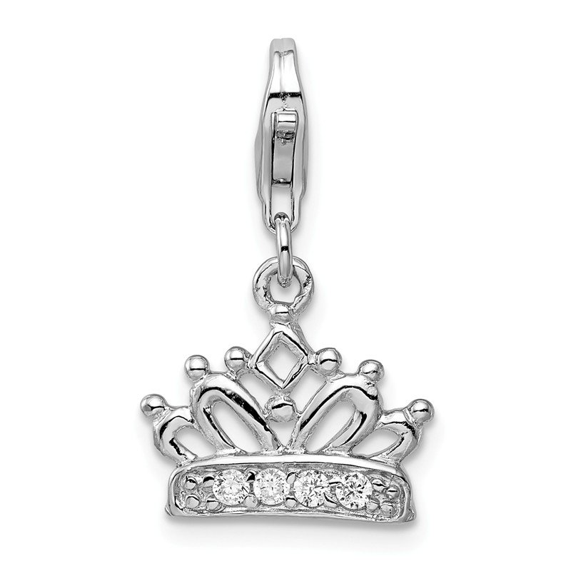 Quality Gold Sterling Silver CZ Crown w/Lobster Clasp Charm