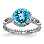 Quality Gold Sterling Silver Rhodium Blue Topaz Twisted Circle Ring