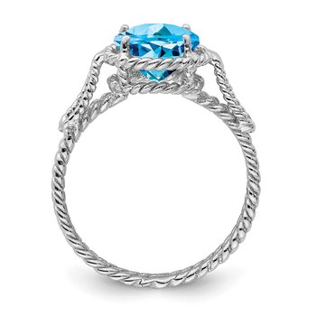 Sterling Silver Rhodium Blue Topaz Twisted Circle Ring