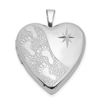 Sterling Silver Rhodium-plated 20mm D/C Footprints Heart Locket