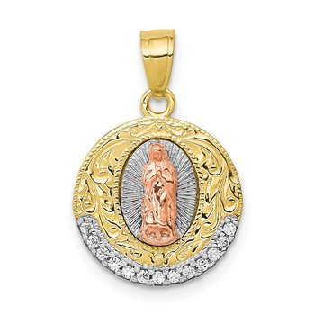 10K Two-Tone w/ Rhodium CZ Lady Of Guadalupe Round Pendant