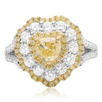 Flowering Heart-shaped Diamond Ring