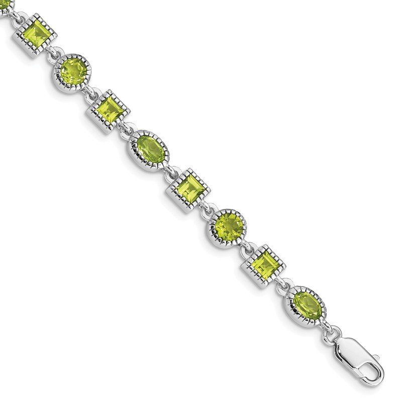 Quality Gold Sterling Silver Rhodium-plated Peridot Bracelet