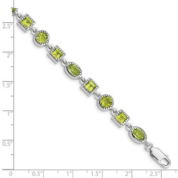 Sterling Silver Rhodium-plated Peridot Bracelet