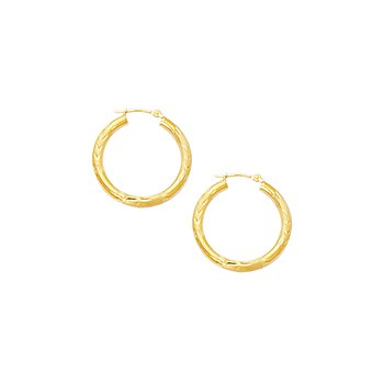10K Gold 3mm Diamond Cut Hinged Hoop Earring