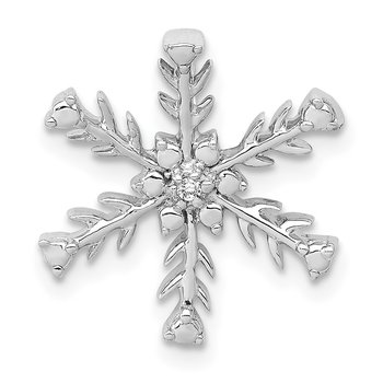 14k White Gold .01ct. Diamond Snowflake Chain Slide