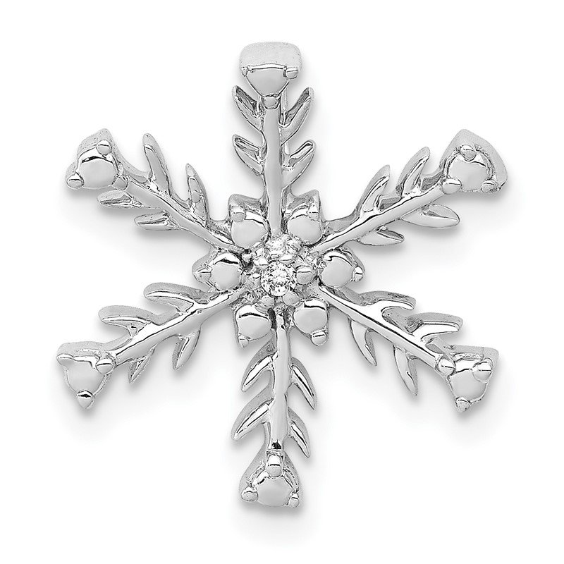 Quality Gold 14k White Gold .01ct. Diamond Snowflake Chain Slide