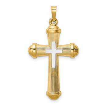 14k Two-tone Hollow Polished Cross w/Center Cross