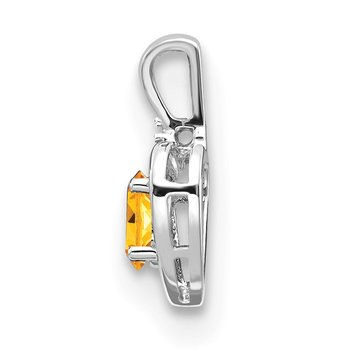 14k White Gold Citrine and Diamond Heart Pendant