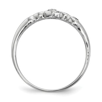 Sterling Silver Rhodium-plated 5-stone Bezel Set CZ Ring