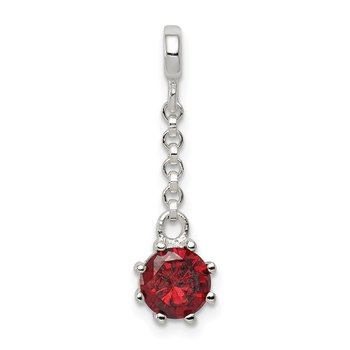 Sterling Silver Dark Red CZ 1/2in Dangle Enhancer