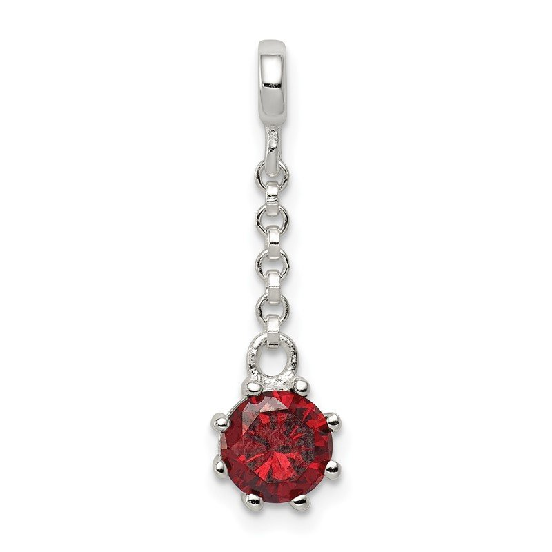 Quality Gold Sterling Silver Dark Red CZ 1/2in Dangle Enhancer