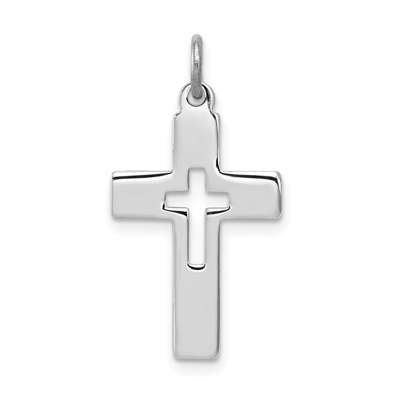 Quality Gold Sterling Silver Rhodium-plated Cut-out Cross Charm