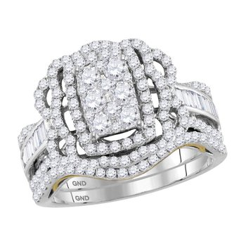 14kt Two-tone White Gold Womens Round Diamond Bridal Wedding Engagement Ring Band Set 1-3/8 Cttw
