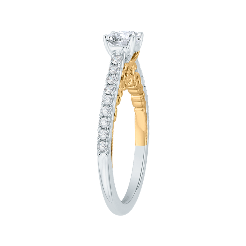 Promezza 14K Two-Tone Gold Round Cut Diamond Engagement Ring