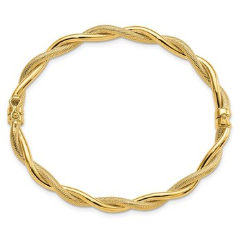Leslie's 14k Polished & Textured Twist Bangle