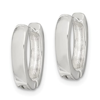 Sterling Silver Oval Hinged Hoop Earrings