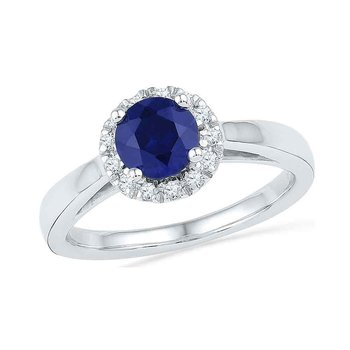 10kt White Gold Womens Round Lab-Created Blue Sapphire Solitaire Ring 1.00 Cttw