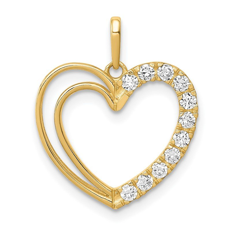 Quality Gold 14K CZ Heart Pendant
