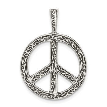 Sterling Silver Antiqued Peace Sign Charm
