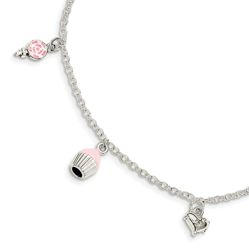 4 x Pink /& White Lollipop Silver Plated Enamel Pendant Charms