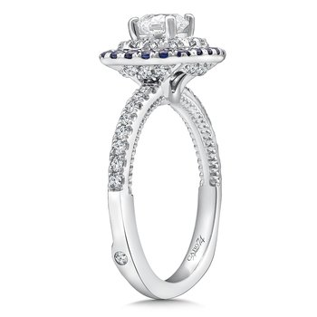 Diamond and Blue Sapphire Halo Engagement Ring Mounting in 14k White Gold with Platinum Head (.38 ct. tw.)