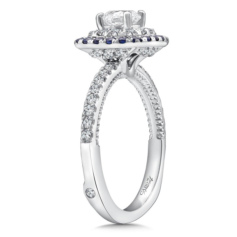 Caro74 Diamond and Blue Sapphire Halo Engagement Ring Mounting in 14k White Gold with Platinum Head (.38 ct. tw.)