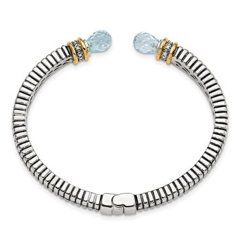 SS w/14k True Two-tone Sky Blue Topaz & Diamond Cuff Bracelet