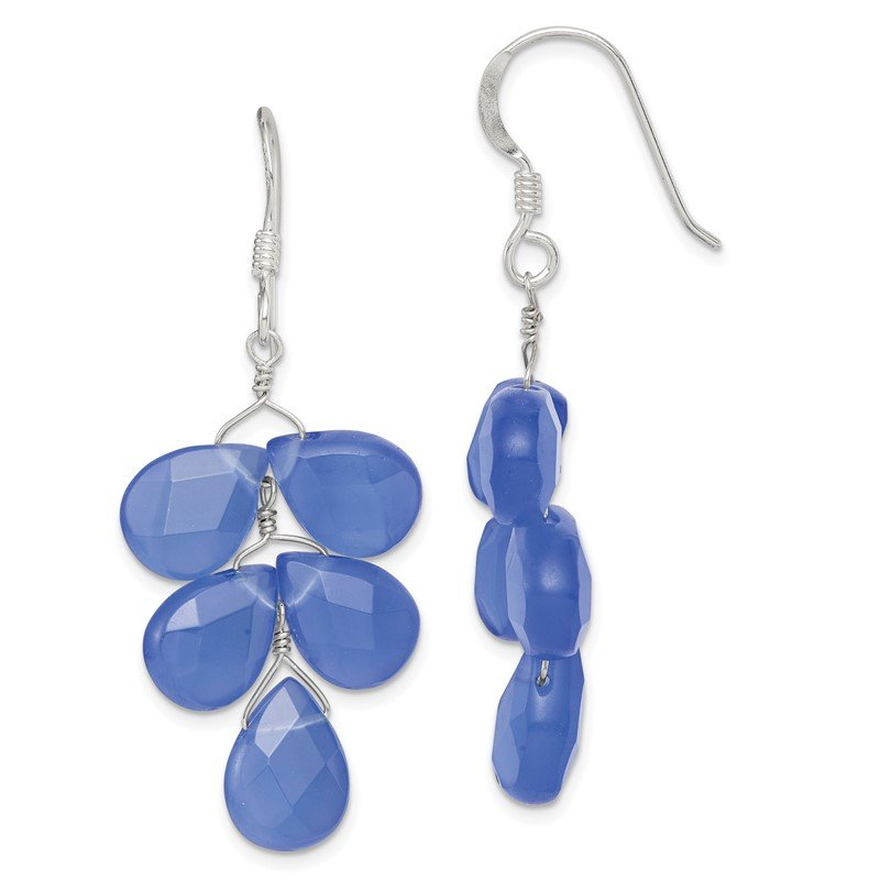 Quality Gold Sterling Silver Blue Quartz Crystal Earrings