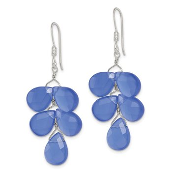 Sterling Silver Blue Quartz Crystal Earrings