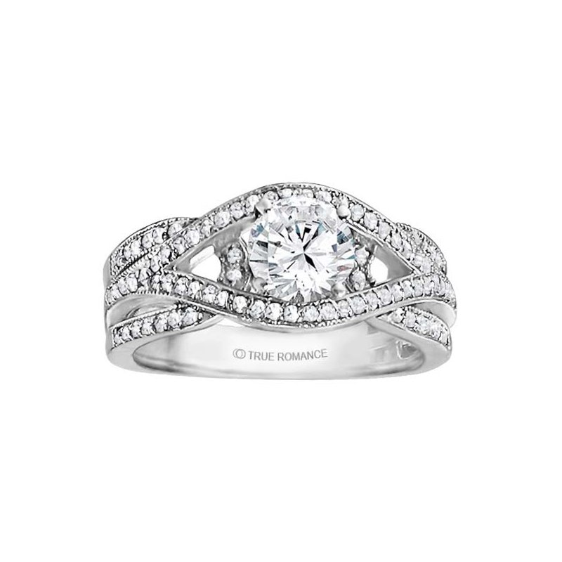 True Romance Round Cut Diamond Bi-Pass Engagement Ring