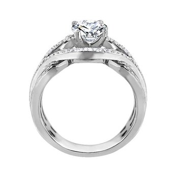 Round Cut Diamond Bi-Pass Engagement Ring