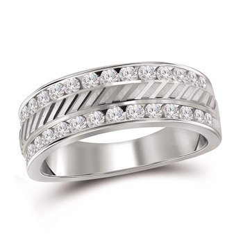 14kt White Gold Mens Round Channel-set Diamond Double Row Grecco Wedding Band Ring 1.00 Cttw