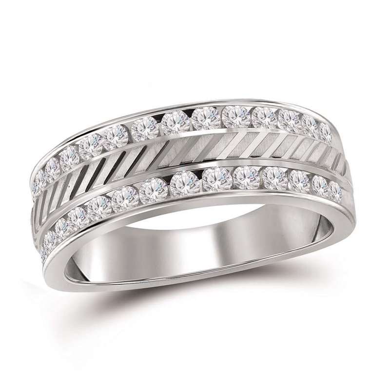 Gold-N-Diamonds 14kt White Gold Mens Round Channel-set Diamond Double Row Grecco Wedding Band Ring 1.00 Cttw