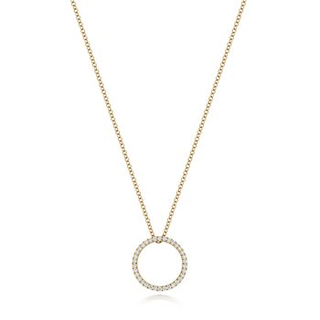 Diamond Circle Necklace 16/17Inch