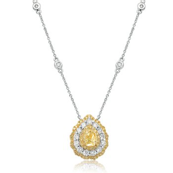 Pear-shaped Fancy Yellow Diamond Necklace