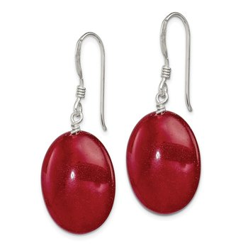 Sterling Silver Red Jade Dangle Earrings