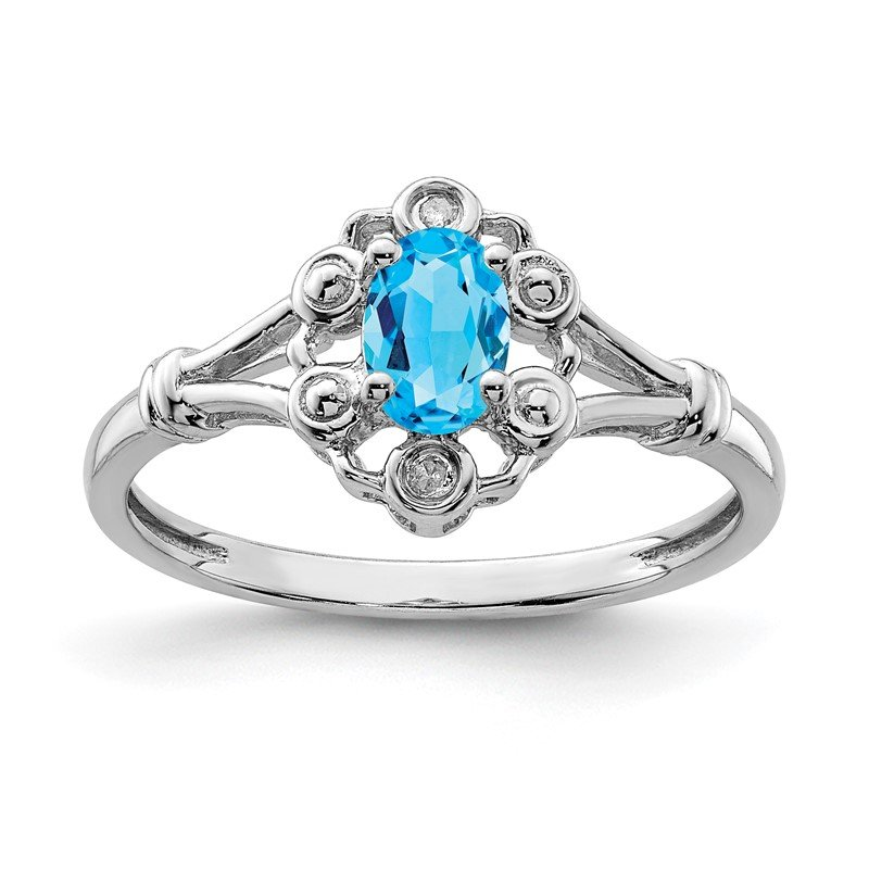 Quality Gold Sterling Silver Rhodium-plated Light Swiss Blue Topaz & Diam. Ring
