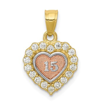 10K Two-tone w/White Rhodium 15 CZ Heart Charm