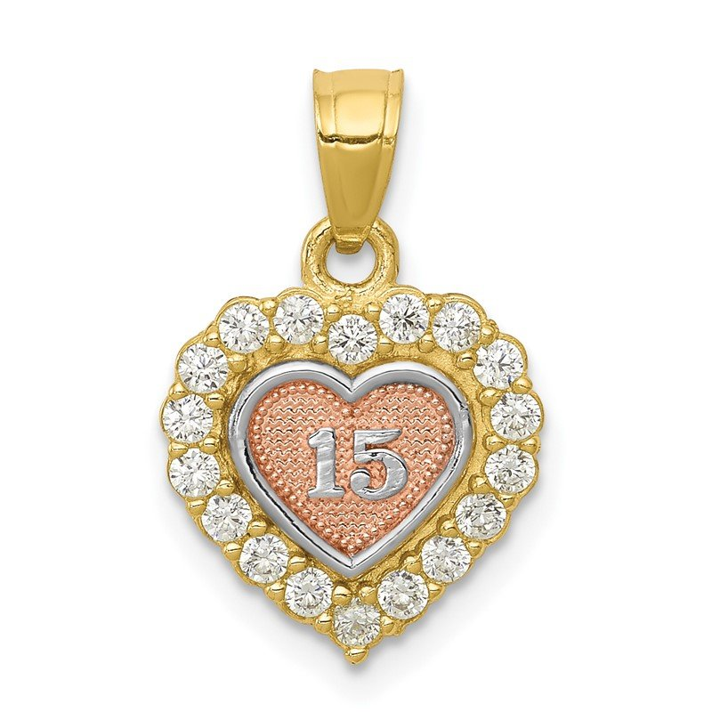 Quality Gold 10K Two-tone w/White Rhodium 15 CZ Heart Charm