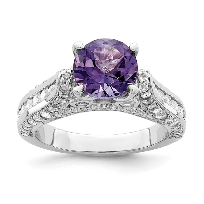 Quality Gold Sterling Silver Rhodium-plated 8mm Amethyst & White Topaz Ring