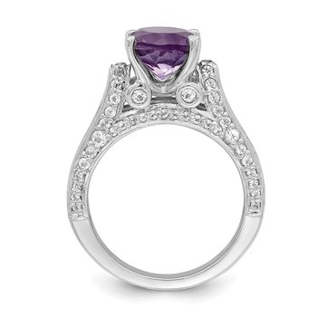Sterling Silver Rhodium-plated 8mm Amethyst & White Topaz Ring