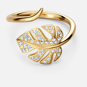Tropical Leaf Open Ring, White, Gold-tone plated
