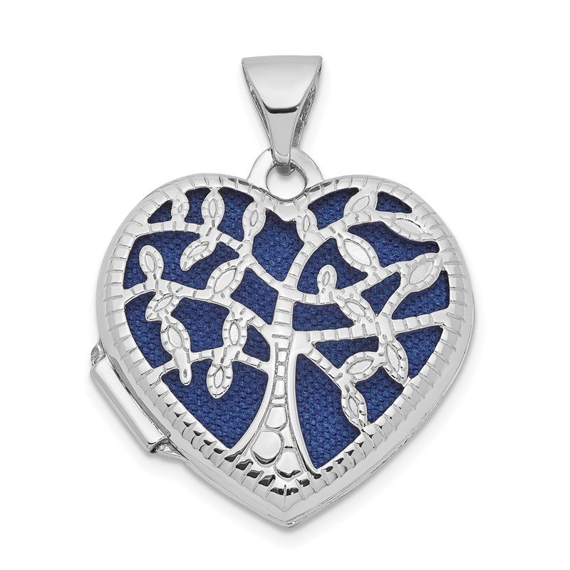 14k White Gold 18mm Tree Heart Locket