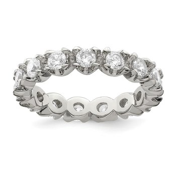 Sterling Silver Rhodium-plated CZ Eternity Ring
