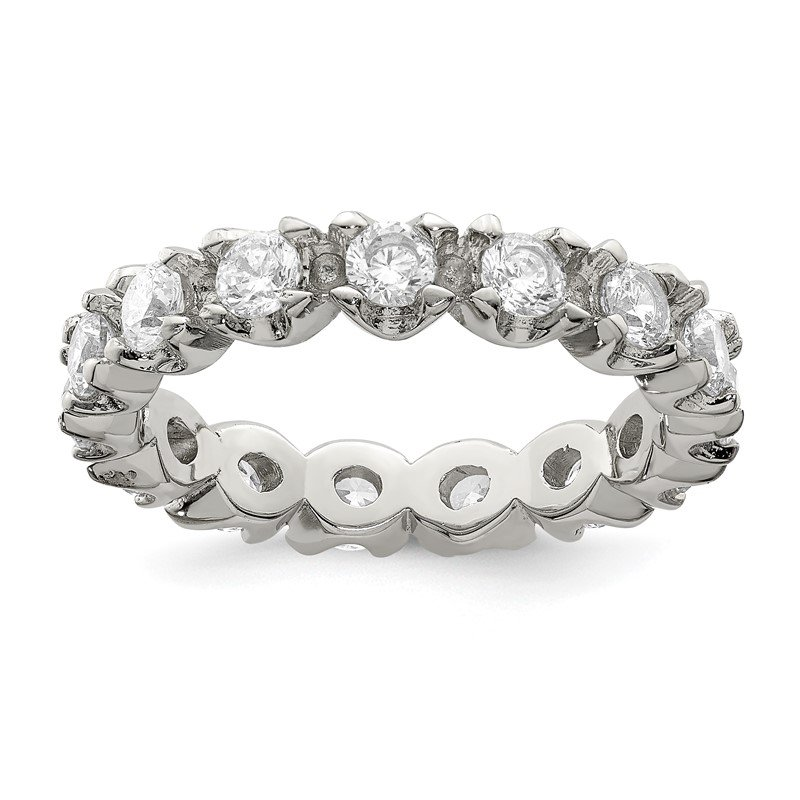 Quality Gold Sterling Silver Rhodium-plated CZ Eternity Ring