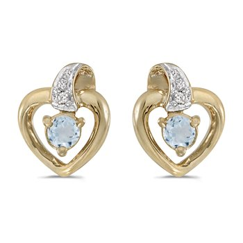 14k Yellow Gold Round Aquamarine And Diamond Heart Earrings