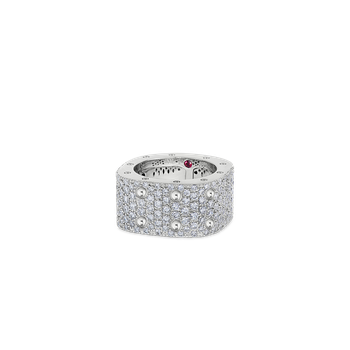 2 Row Square Ring With Diamonds &Ndash; 18K White Gold, 5.5