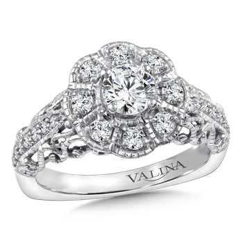 Halo Engagement Ring Mounting in 14K White Gold (.46 ct. tw.)