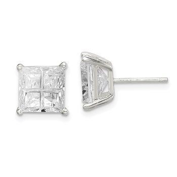 Sterling Silver 8mm Square Cross-cut CZ Basket Set Stud Earrings